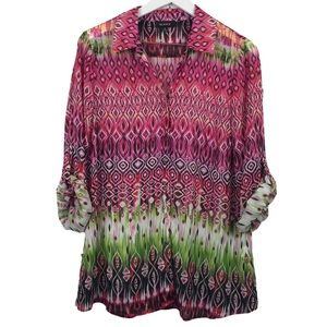 Glance Pink Ikat Print Sheer Button Up Blouse